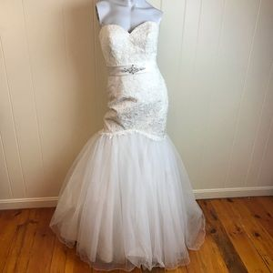 Allure Bridals Strapless Ivory Lace Wedding Gown